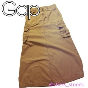Gap Khaki Cargo Maxi Skirt